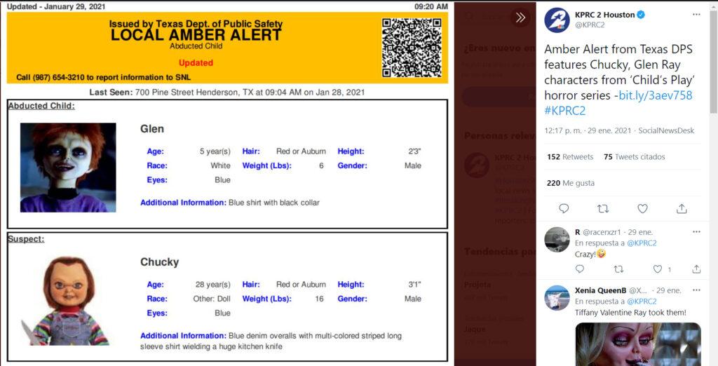 El Departamento de Seguridad Pública de Texas emitió, por error, una alerta Amber sobre el muñeco Chucky que se hizo viral.